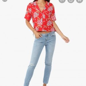 Forever21 red tropical print shirt